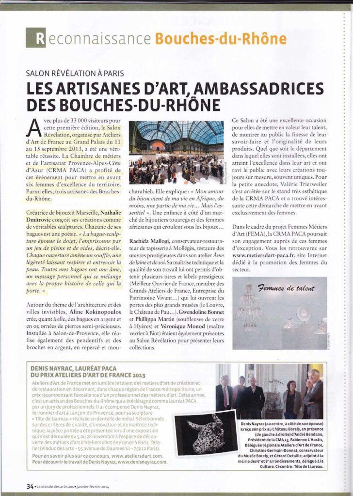 Article le monde des artisans editions bouches du rhône 2014
